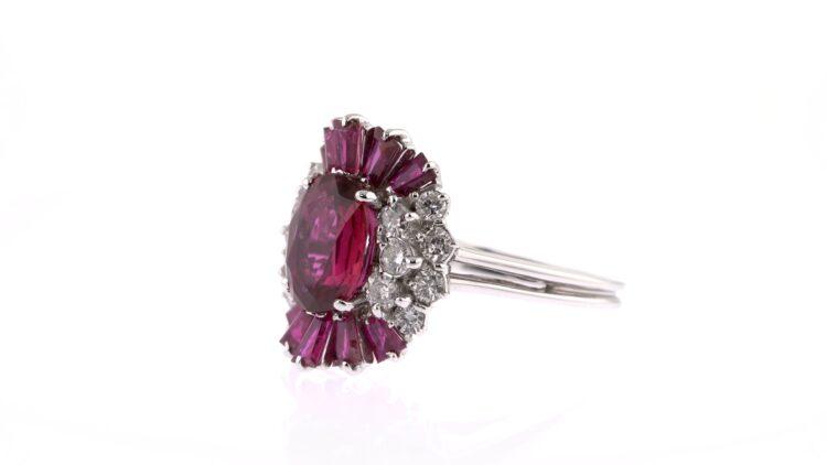 striking purplish red ruby and white diamond ring