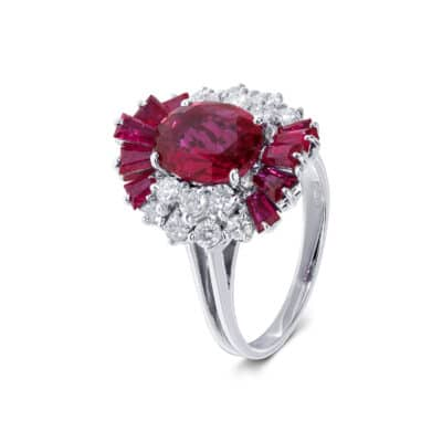 striking purplish red ruby and white diamond ring
