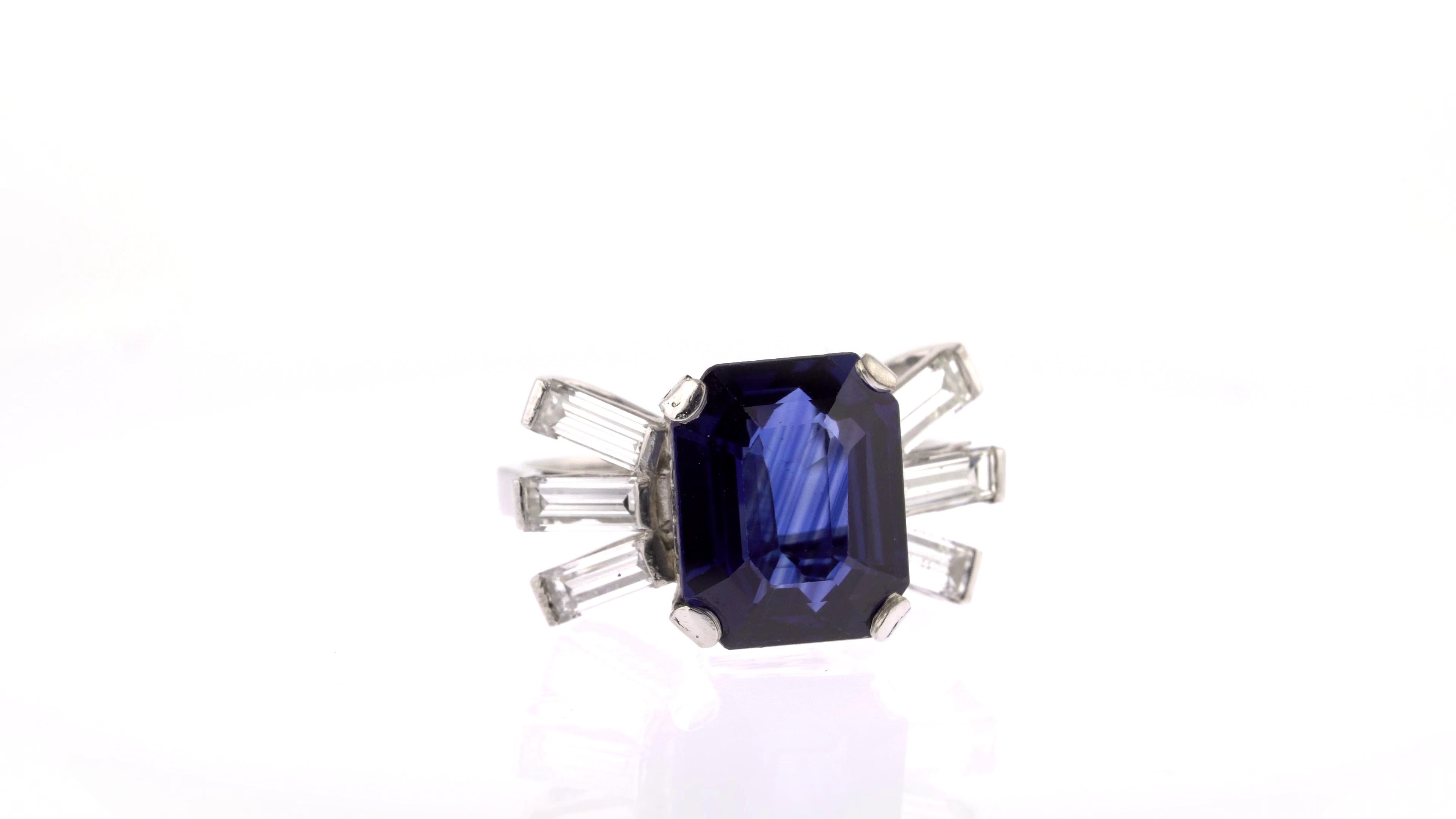 octagon sapphire and diamond ring