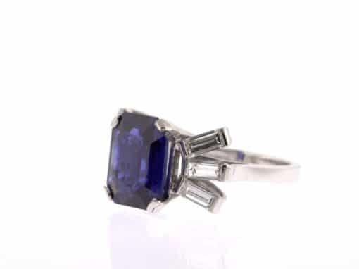 octagon sapphire and diamond ring