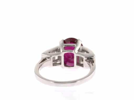 oval ruby and baguette diamond ring