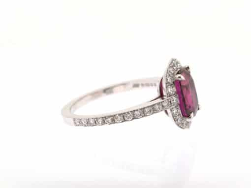 ruby and white diamond halo ring