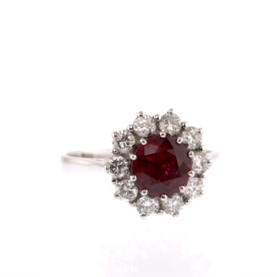 breathtaking red ruby and diamond white gold ring