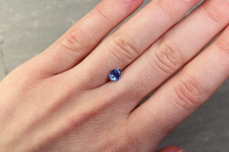 0.74 ct blue pear shape sapphire