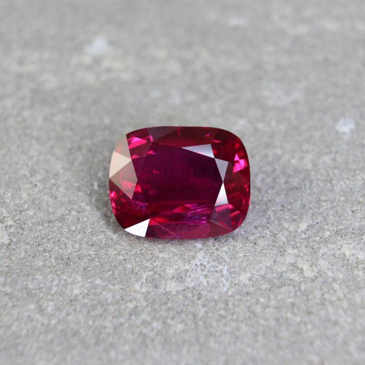 3.57 ct vivid red cushion ruby