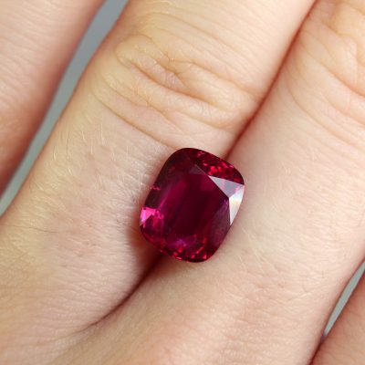 3.57 ct vivid red cushion ruby