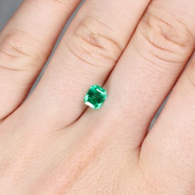 0.68 ct emerald cut green emerald