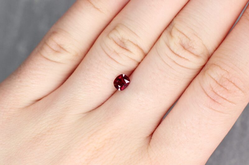 0.77 ct red cushion ruby