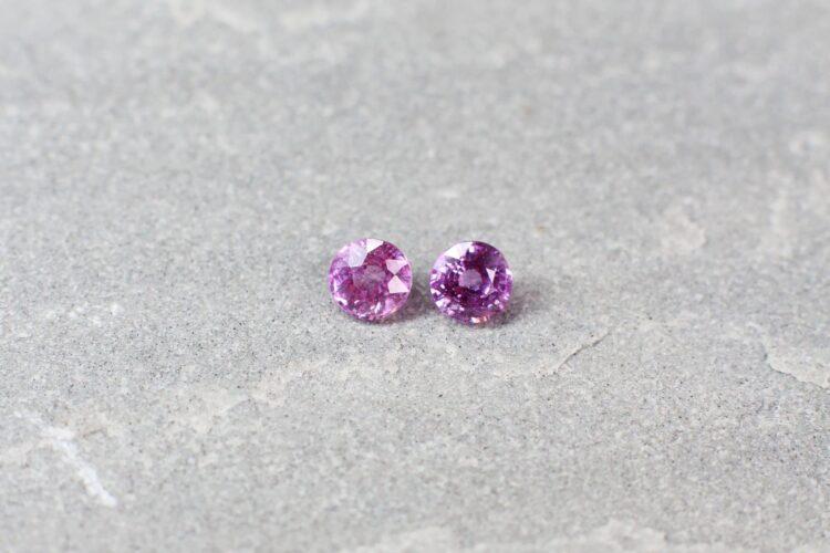 0.78 ct pink round sapphire pair