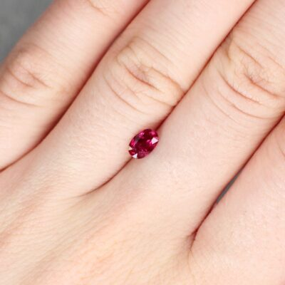 0.79 ct red cushion ruby