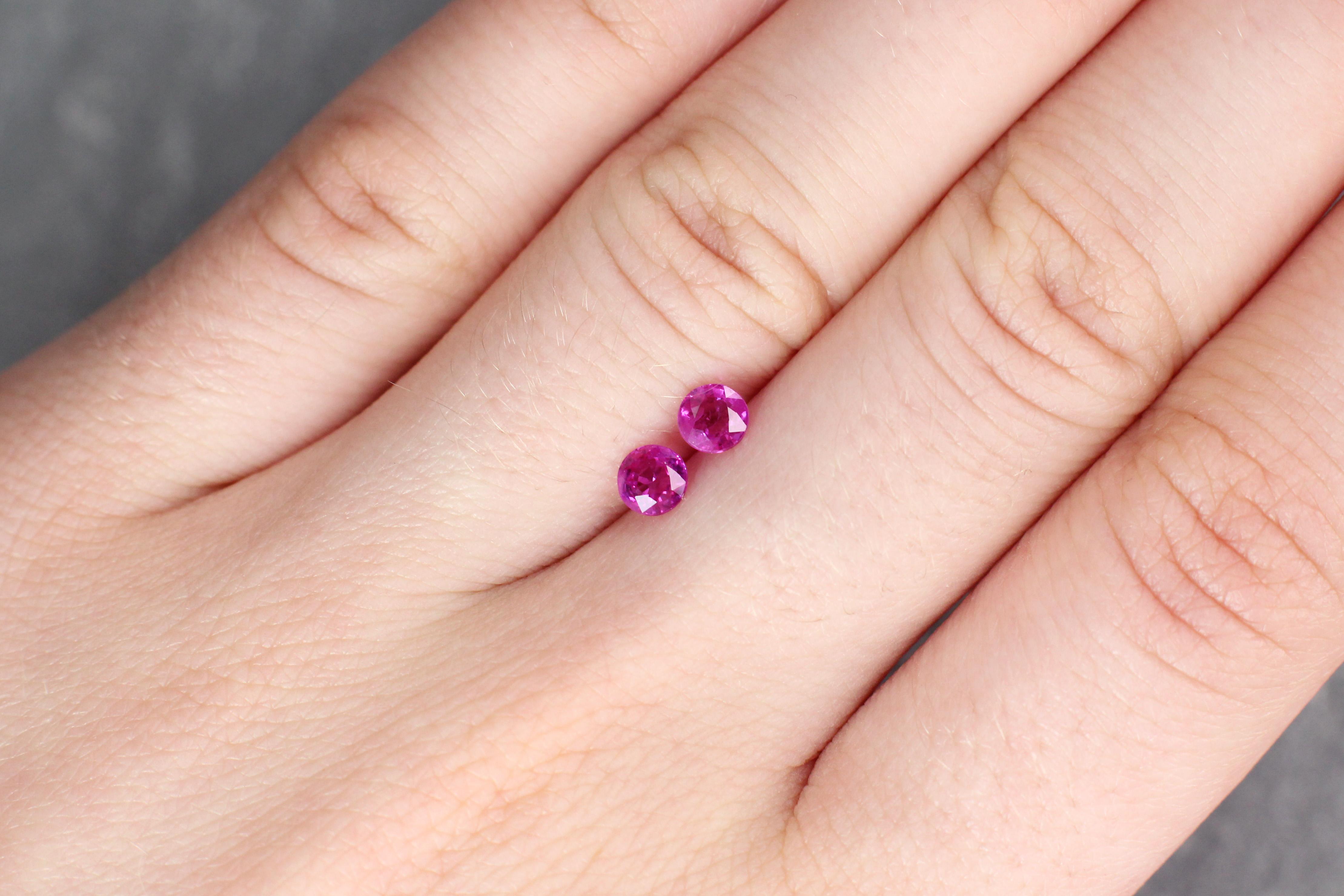 0.80 ct pink round sapphire pair