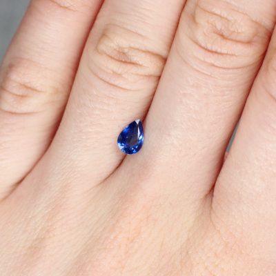 0.72 ct blue pear shape sapphire