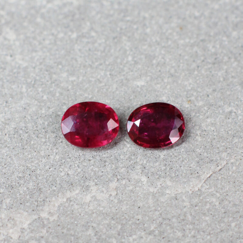 0.84 ct red oval ruby pair