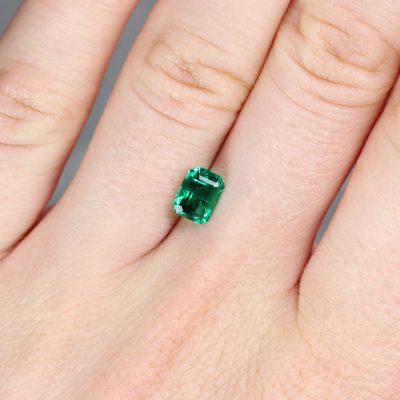0.96 ct emerald cut green emerald