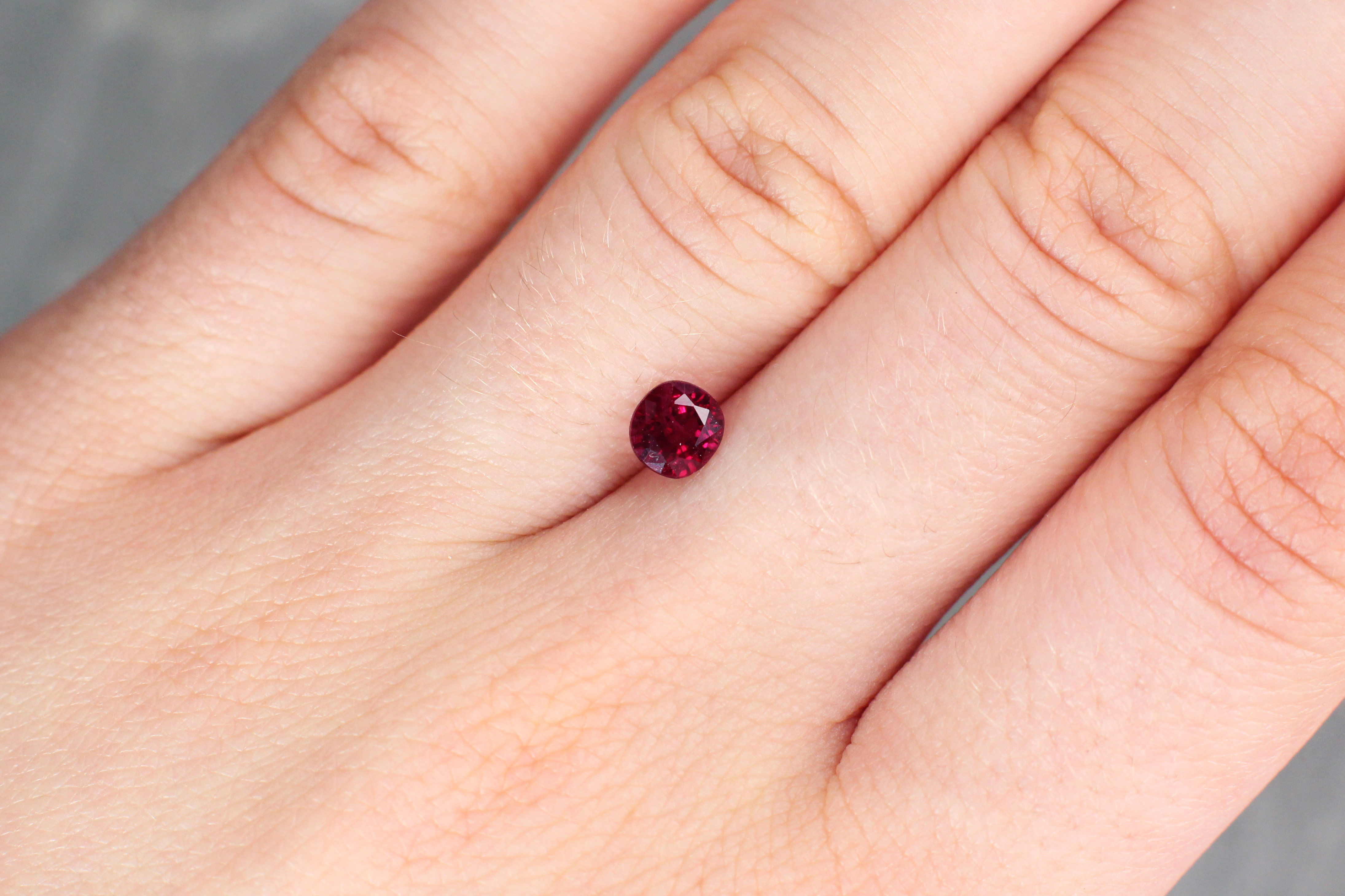 0.96 ct red cushion ruby