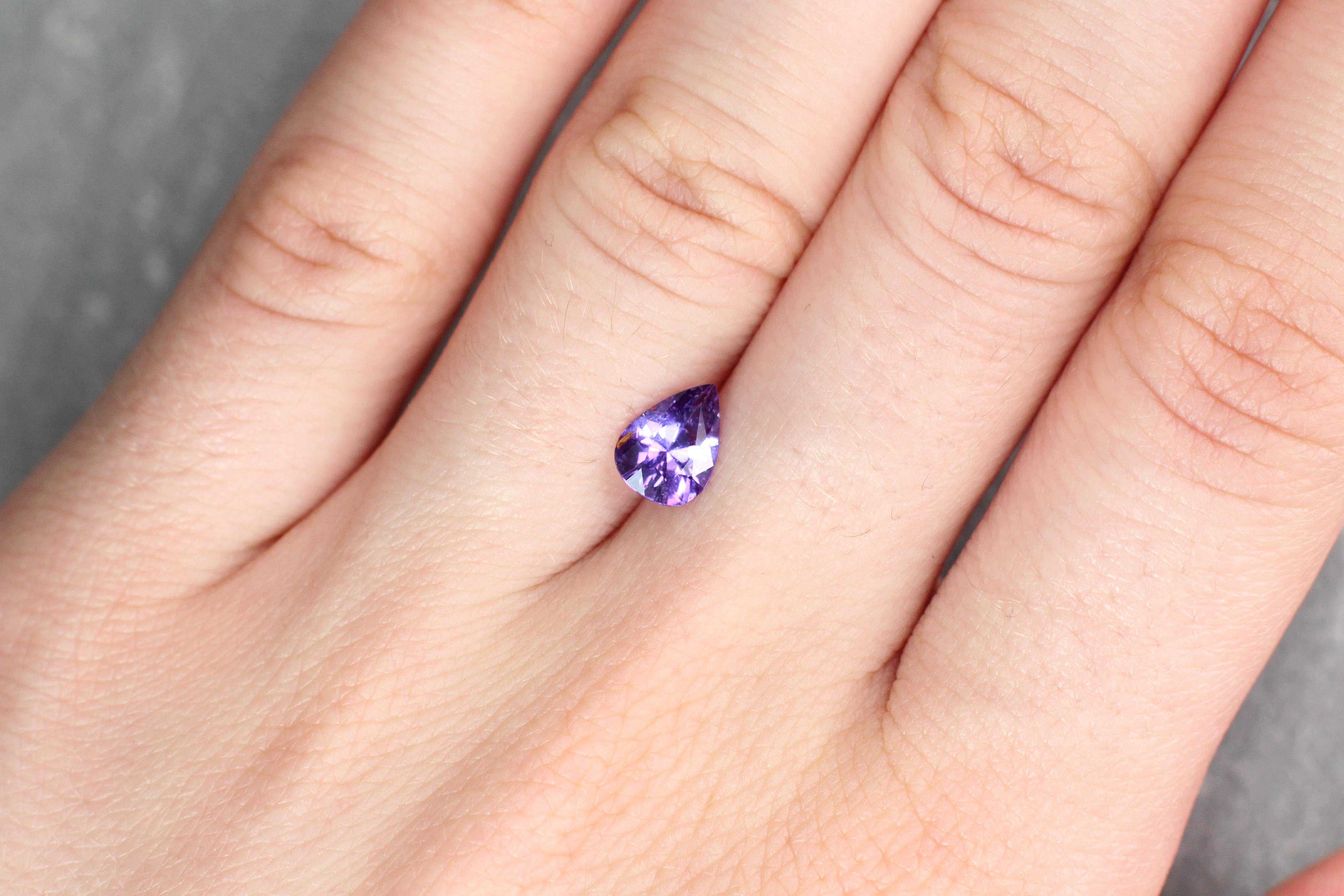0.99 ct purple pear shape sapphire