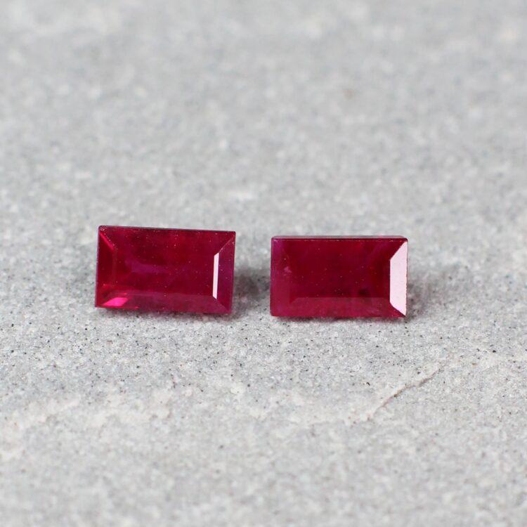 1.12 ct red baguette ruby pair