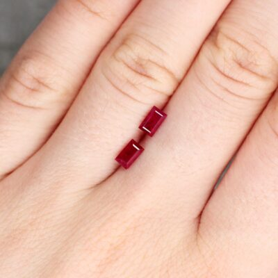 1.12 ct red baguette ruby pair
