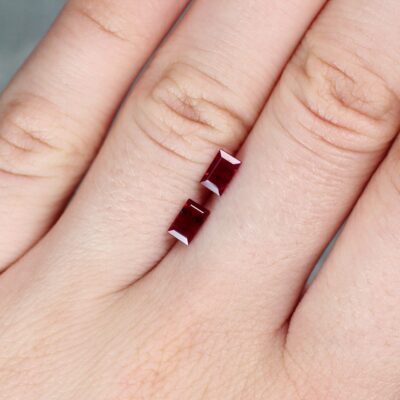 1.14 ct red baguette ruby pair