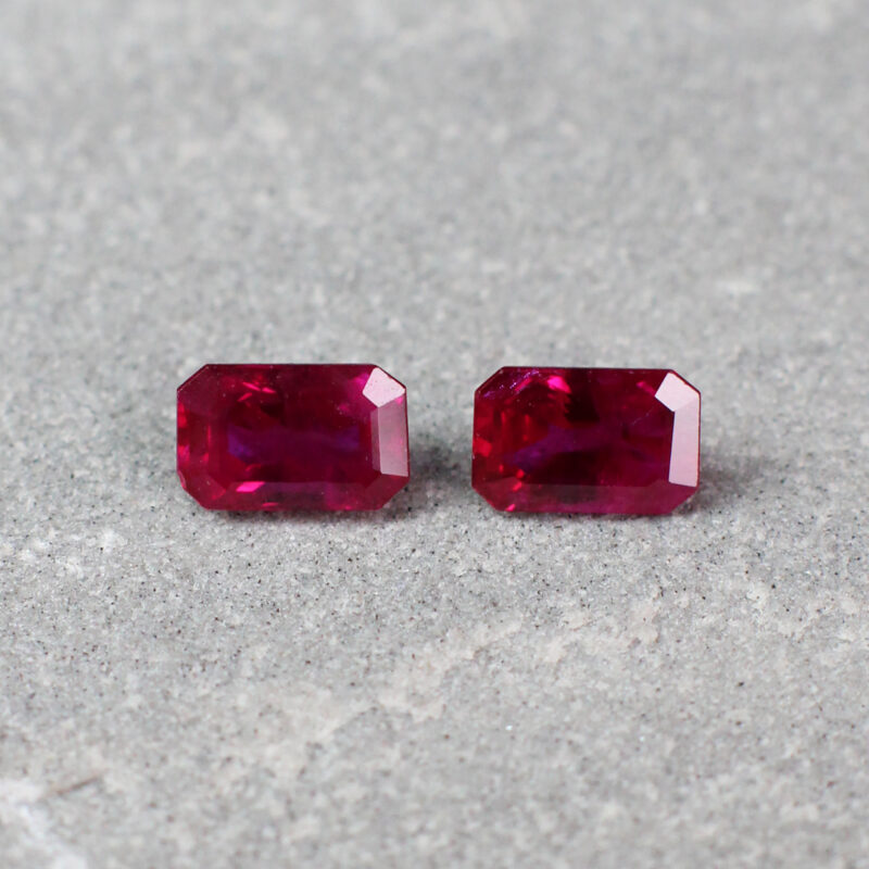 1.29 ct red octagon ruby pair