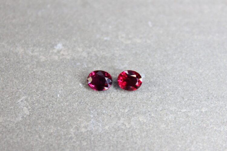 1.31 ct red oval ruby pair