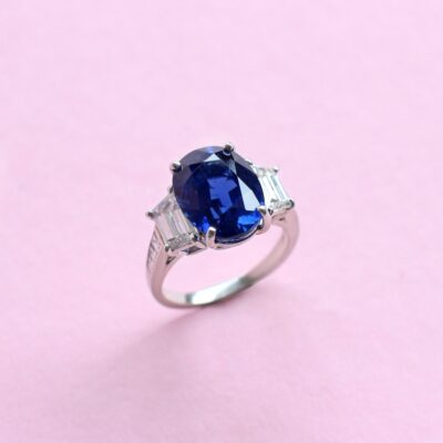 exceptional blue sapphire and diamond ring