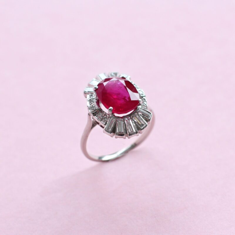 extraordinary red ruby and baguette diamond ring