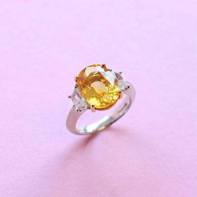 yellow sapphire and white diamond platinum ring