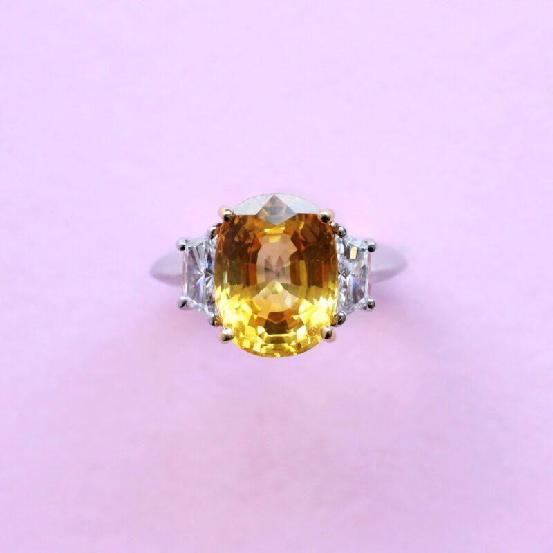 extraordinary yellow sapphire and white diamond ring