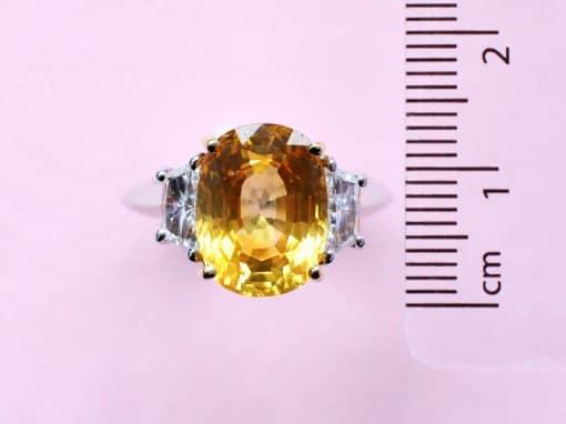 yellow sapphire and white diamond platinum ring
