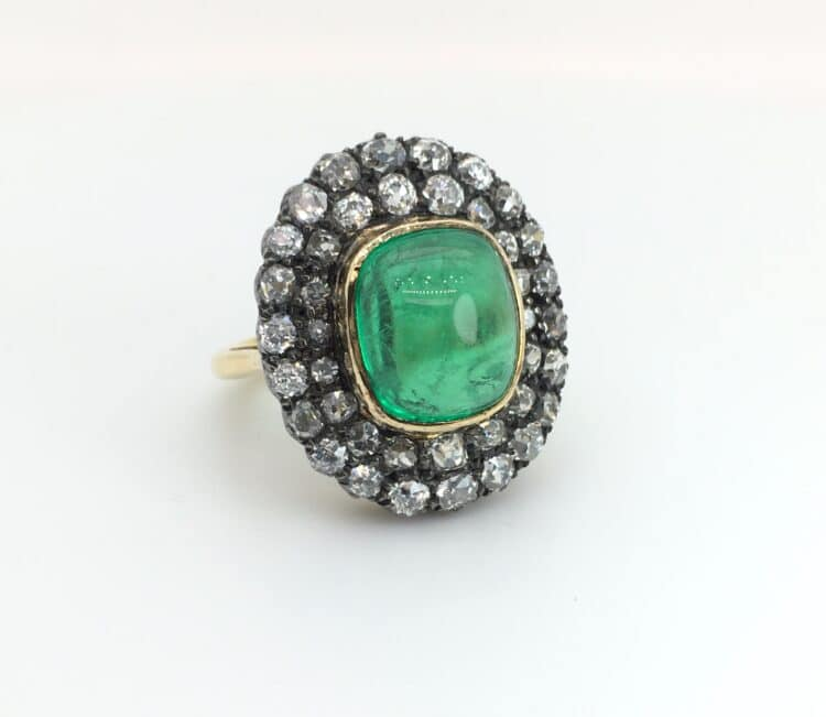 exceptional cabochon emerald and diamond ring