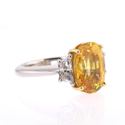 extraordinary yellow sapphire and white diamond ring