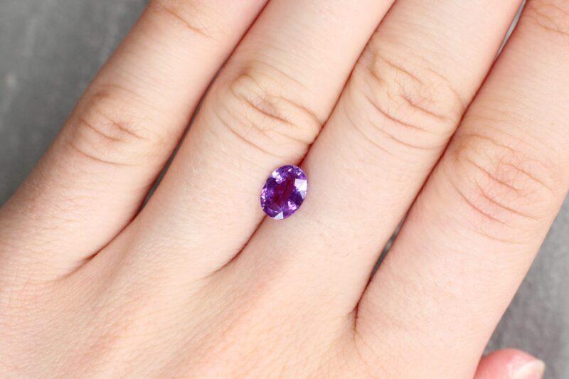 1.38 ct purple oval sapphire