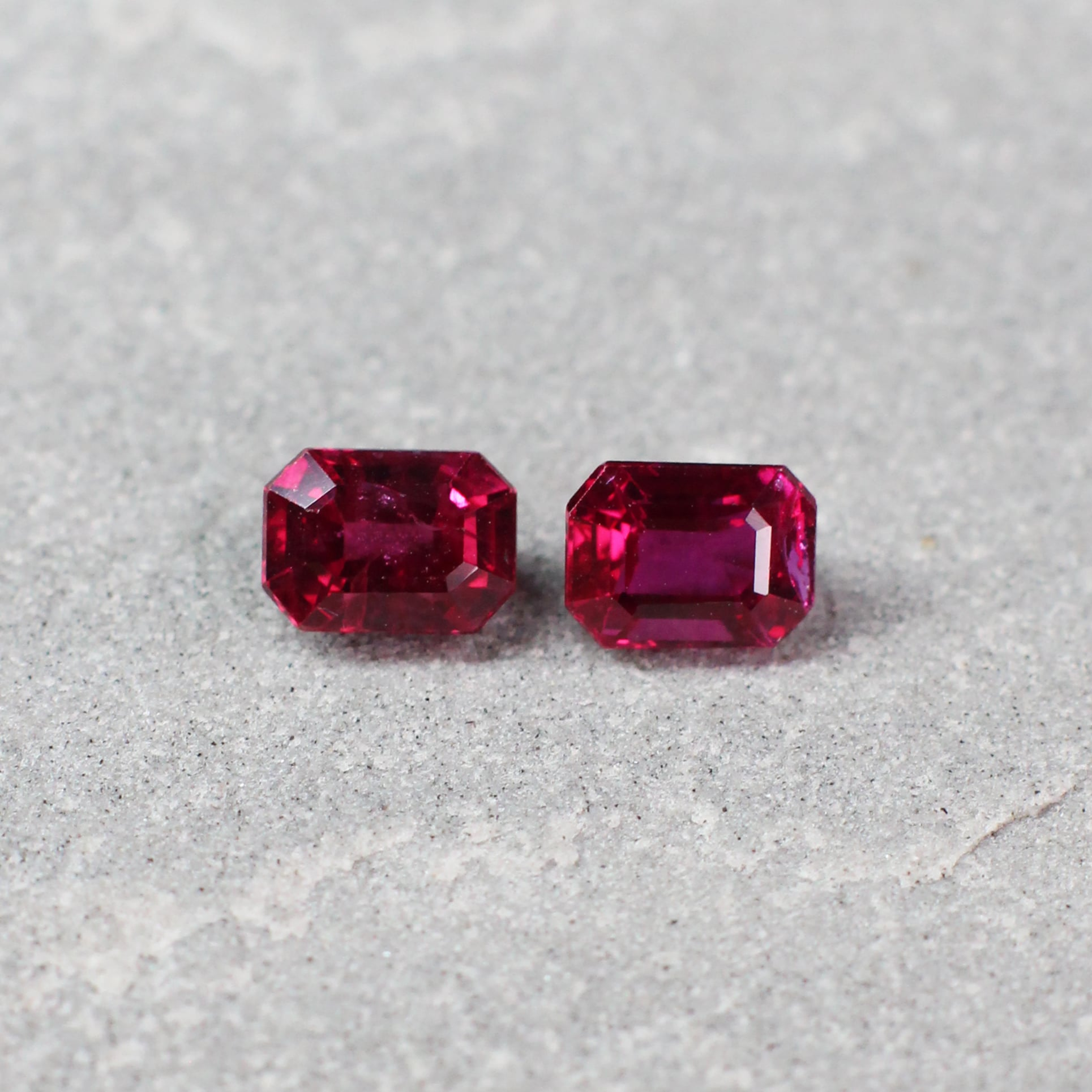 1.38 ct red octagon ruby pair