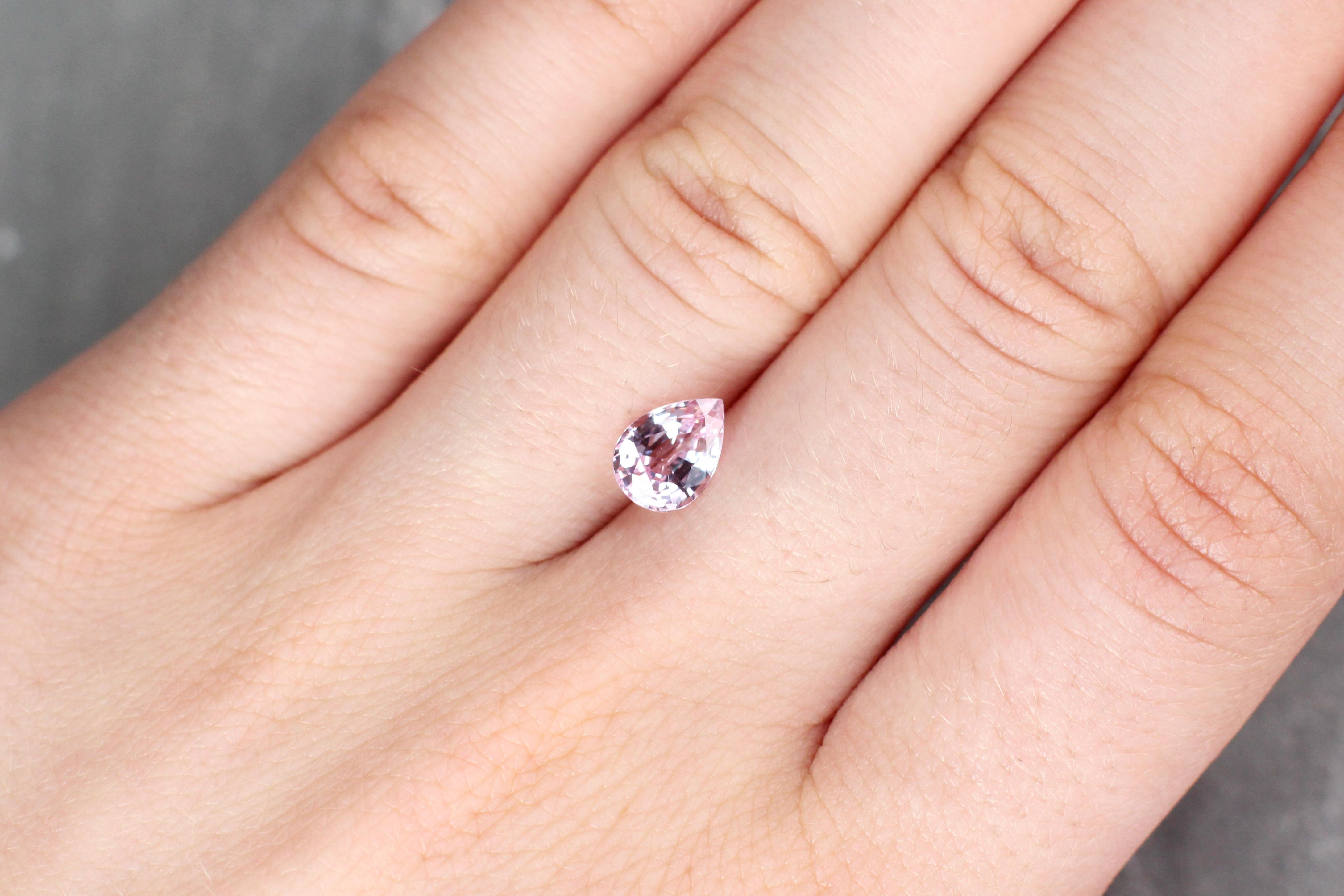 1.44 ct light pink pear shape sapphire