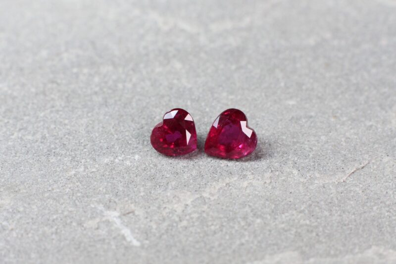 1.45 ct red heart ruby pair