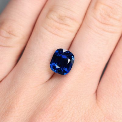 5.55 ct royal blue cushion sapphire