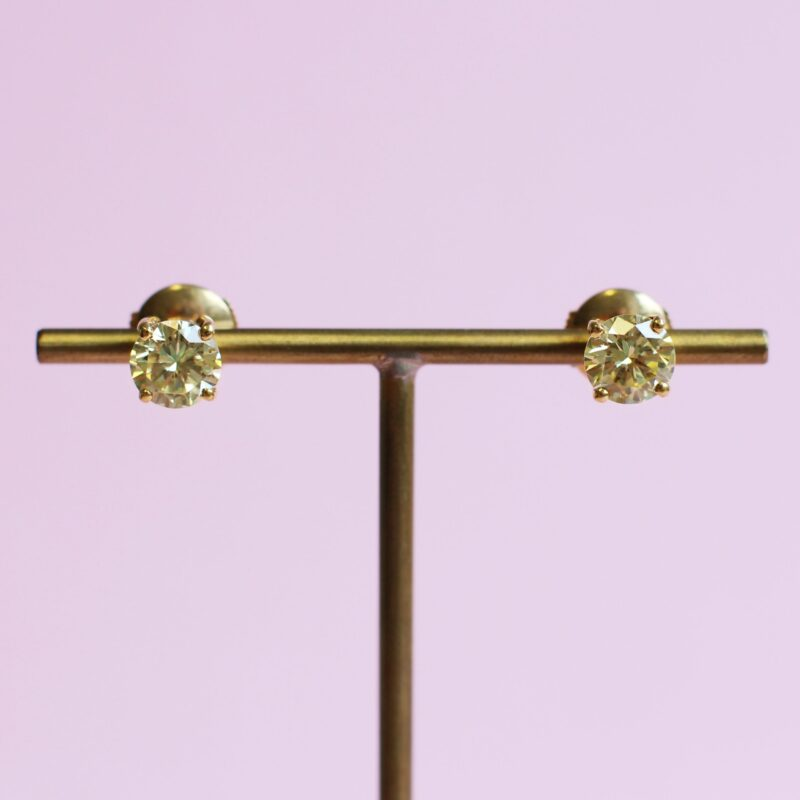 exquisite yellow diamond earrings in yellow gold
