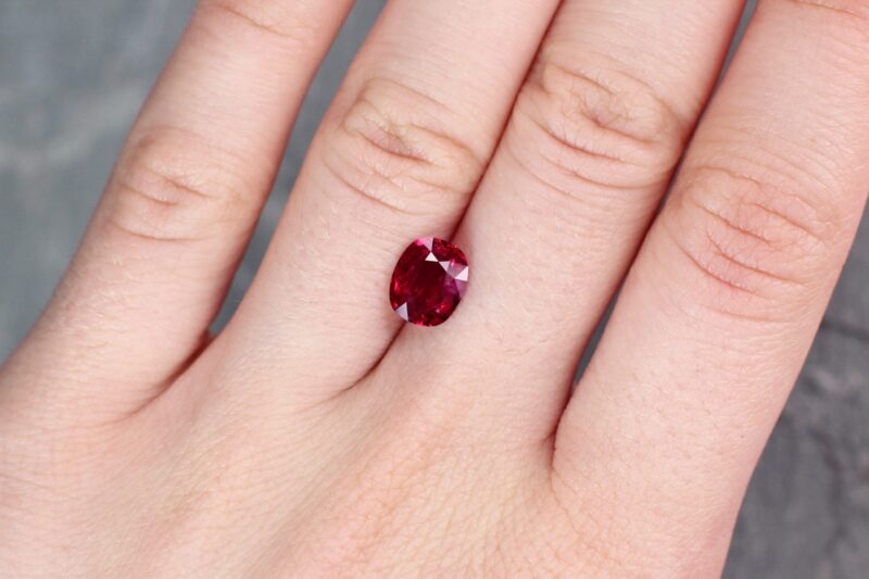 2.07 ct red oval ruby