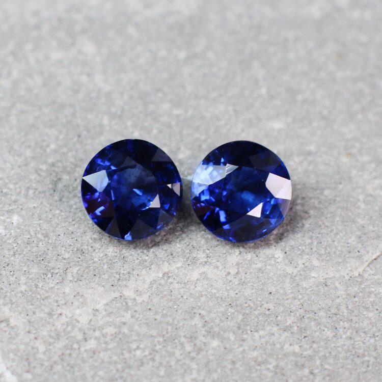 2.5 ct blue round sapphire pair