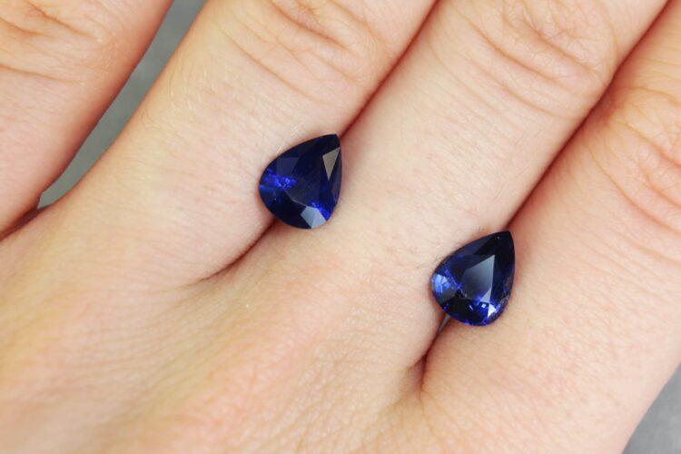 3.24 ct blue pear shape sapphire pair
