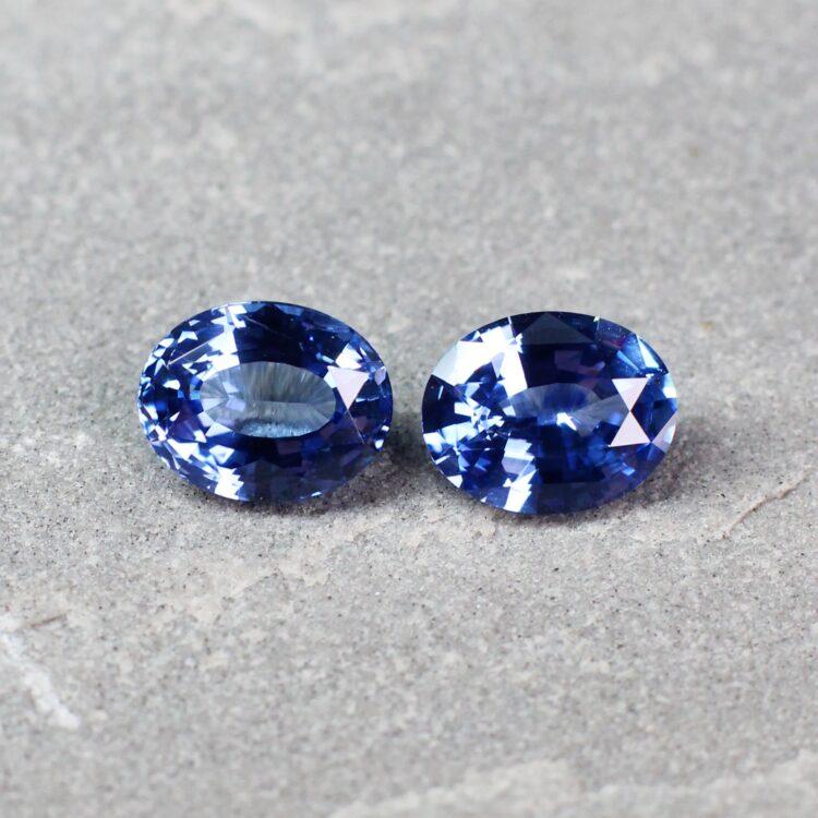3.68 ct blue oval sapphire  pair
