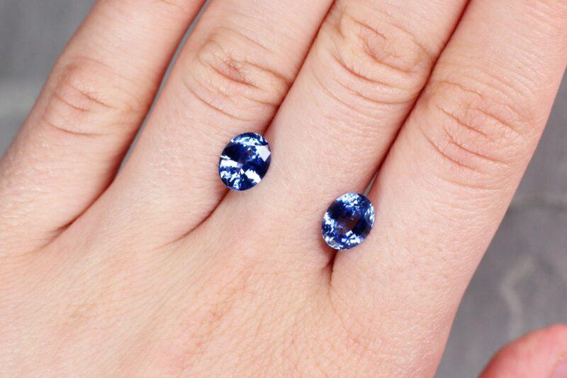 3.67 ct blue oval sapphire  pair