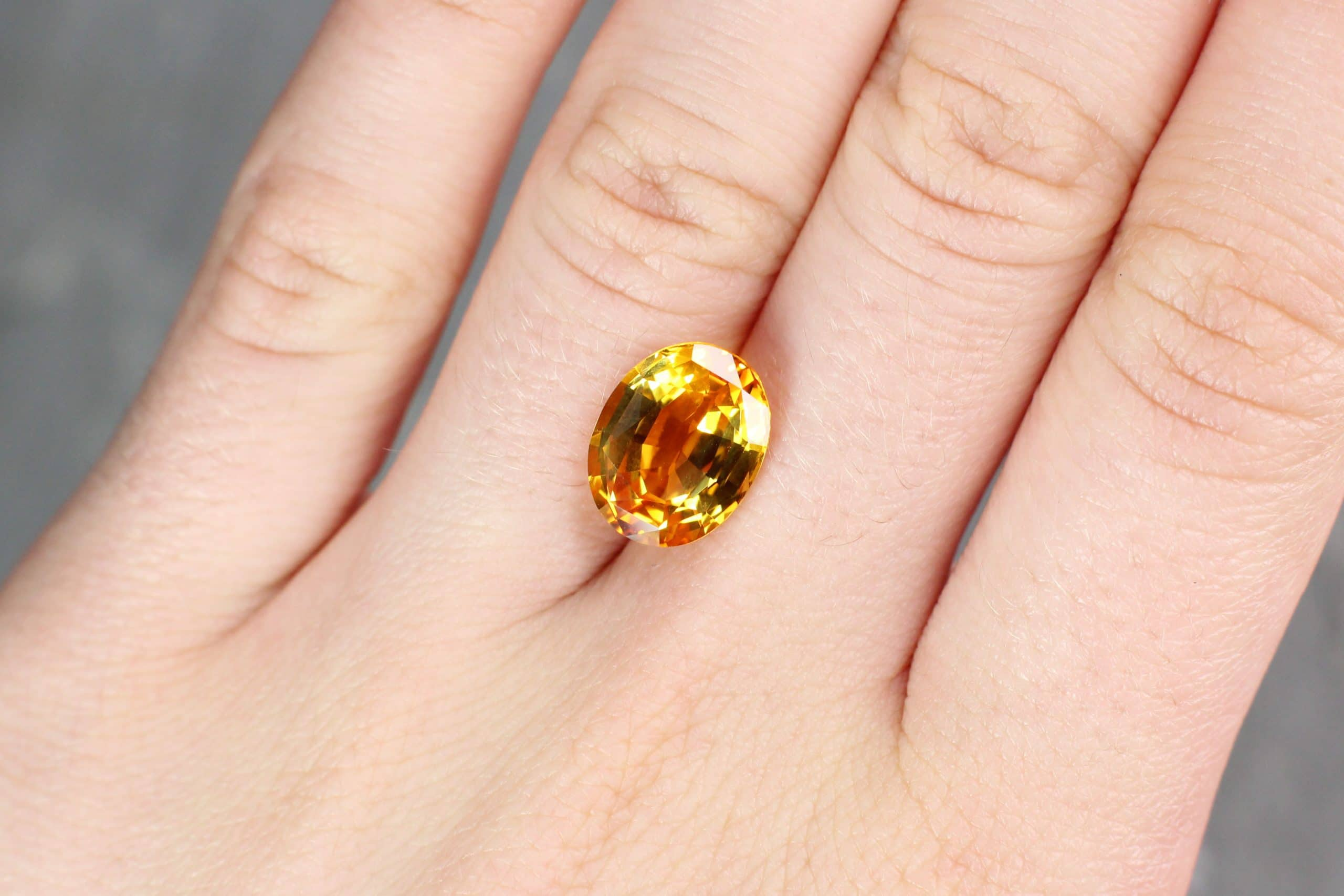 6.3 ct yellow oval sapphire