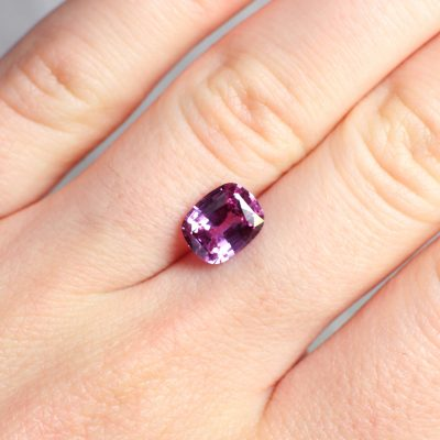 2.59 ct purple cushion sapphire