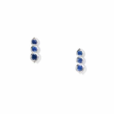 3 stone sapphire crawler stud earrings
