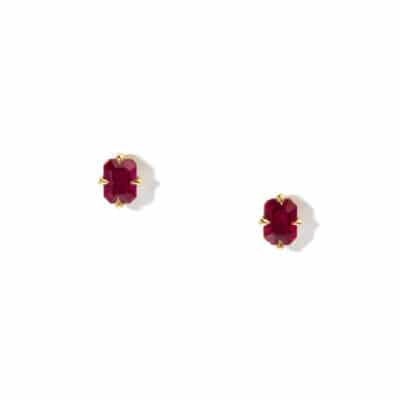 emerald cut ruby stud earrings