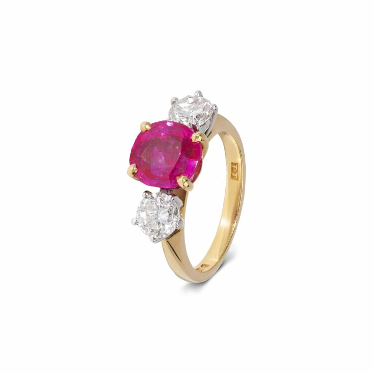 ruby and diamond 3 stone ring