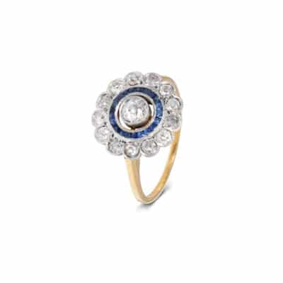 old cut diamond and sapphire 'target' ring