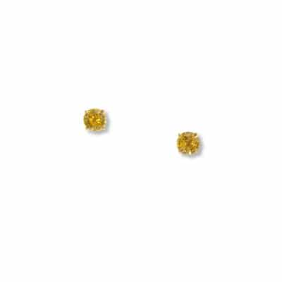 round yellow sapphire stud earrings